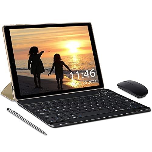 Tablette Tactile 10 Pouces 4Go RAM 64Go/128Go ROM Android 10.0 Certifié par Google GMS, Quad Core 1.6Ghz Batterie 6000mAh 5MP Caméra WiFi Bluetooth GPS Netflix(Or)