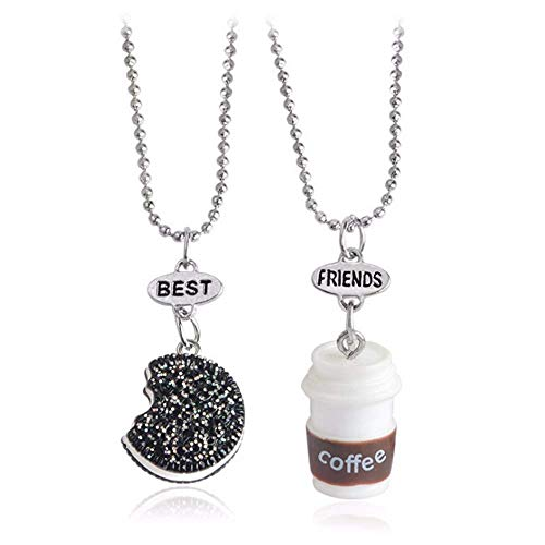 YINLIN Cute 2Pcs Best Friend Cookie and Milk Coffee Cup Oreo Pendant Friendship Necklace(coffee)