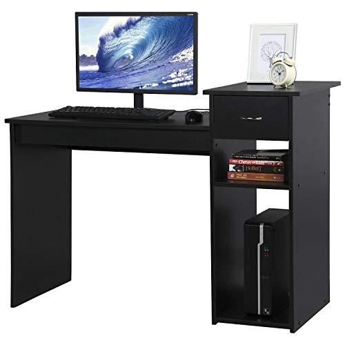 Yaheetech Mesa Escritorio Negro 108 x 70 x 50 cm con Cajón Estanterías Mesa de Estudio para Oficina Despacho
