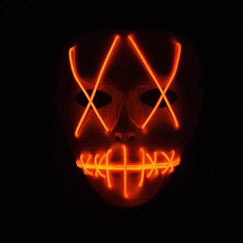 SUNREEK Halloween Scary Mask, Halloween Cosplay Led Costume Mask EL Wire Light Up Máscara para Halloween, Festival Parties (Rojo)