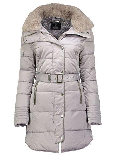 Rino & Pelle dames winterjas gewatteerde jas Blush Beige Grijs Silver Grey Hoge bontkraag getailleerd maat 36-46