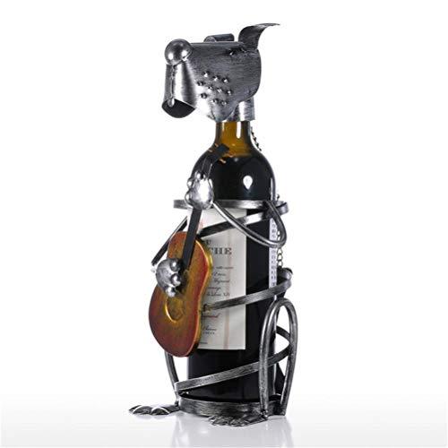 Aiglen Estante para vino, estante para vino para cachorros con banda de música, estatuilla de animal moderna, soportes para vino, soporte creativo para vino, regalo, accesorios de decoración del hogar