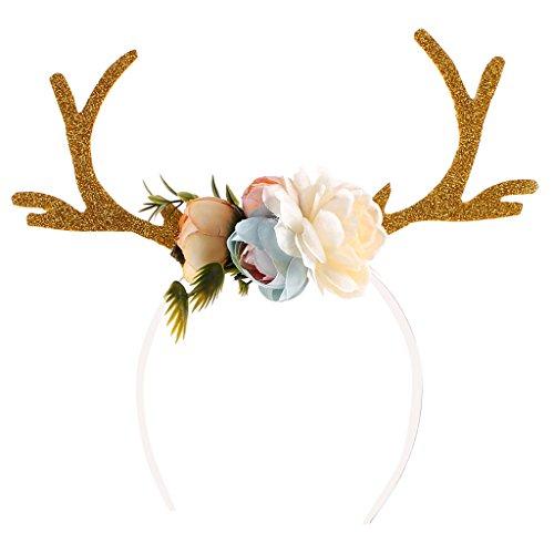 Gazechimp Erwachsene Kinder Weihnachten Blumen Geweihe Kostüm Haarreif Haarband - Khaki