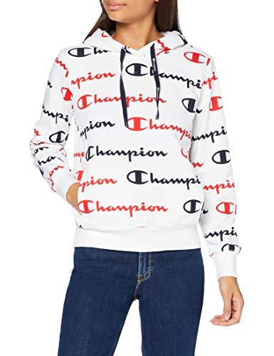 Champion Seasonal AC Logo Allover Hooded Sweatshirt Felpa con Cappuccio, Bianco Wl002, XL Donna