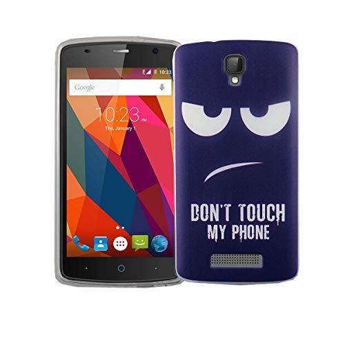 König Design Handy-Hülle kompatibel mit ZTE Blade L5 Plus Silikon Case Hülle Sturzsichere Back-Cover Handyhülle - Don't Touch My Phone Weiß Dunkelblau