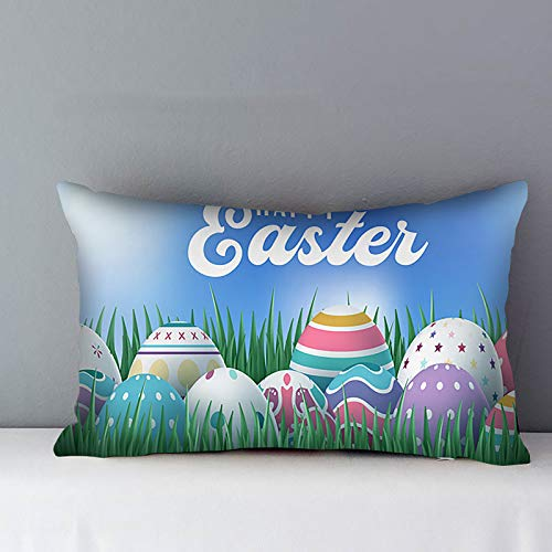 Easter Rectangle Pillow Case 30x50cm,Bunny Throw Pillow Cover Car Pillow Cushion Square Sofa Cushion Cover Bed Decor Spring Sofa Cushion Case Home Pillowcase Decoration Xmas