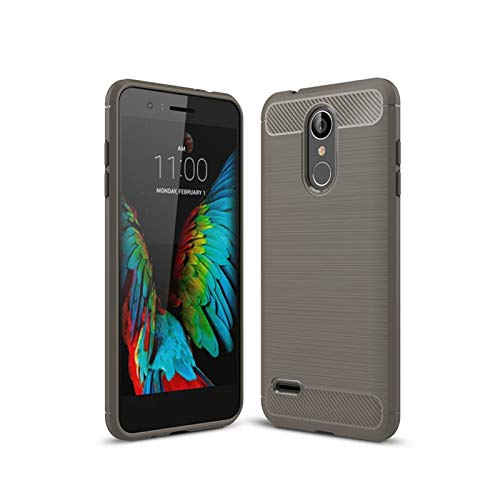 HHF-1 1fortunate Cajas del teléfono para LG K8 2018 K9, Cubierta de patrón de Fibra de Carbono TPU a Prueba de Golpes TPU Atrás Funda para LG K8 2018 / LV3 201 / Aristo2 X210 5.0'5.0' (Color : Gris)