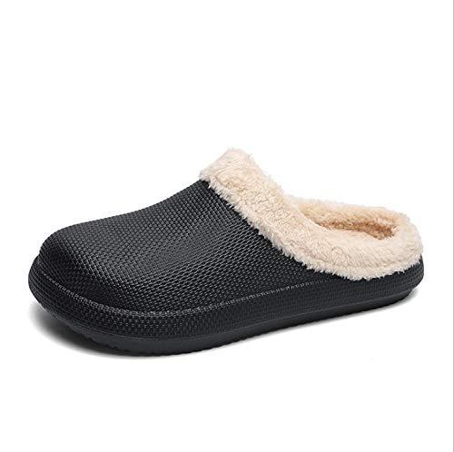 KIKIGO Zapatillas de Toalla,Zapatillas de algodón de Suela Gruesa para el hogar de Invierno, Zapatos de algodón Antideslizantes para Interiores y Exteriores, cálidos, cómodos y Suaves.-Negro_43