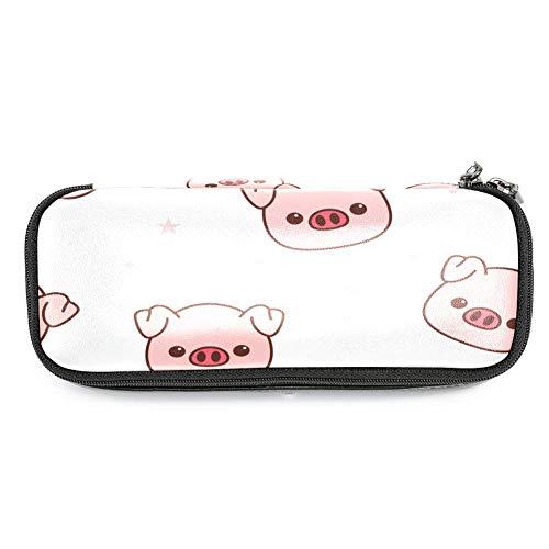 Pig - Estuche de piel con tapa, diseño de dibujos animados, color rosa