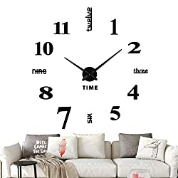 Fanyuanfds Frameless DIY Wall Clock,Large Modern 3D Mirror Wall Clock Decor Sticker DIY Clock kit for Home Living Room Bedroom Office Decoration 2-Year Warranty(WL03-Black)