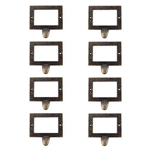 "WEICHUAN 8PCS Antique Zinc Alloy Card Holder Drawer Pulls Tag Frame Pulls Cabinet Frame Handles File Label Frame Drawer Pulls Card Catalog Drawer Pulls- 2.8""x1.9"" Outside Frame"