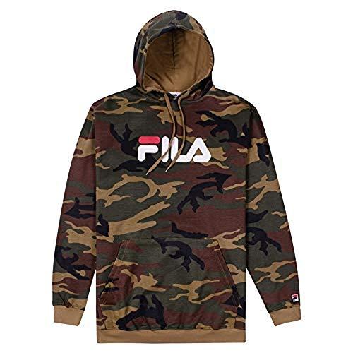 Fila Mens Big and Tall Premium Pullover Fleece Hoodie Sweatshirt Camo