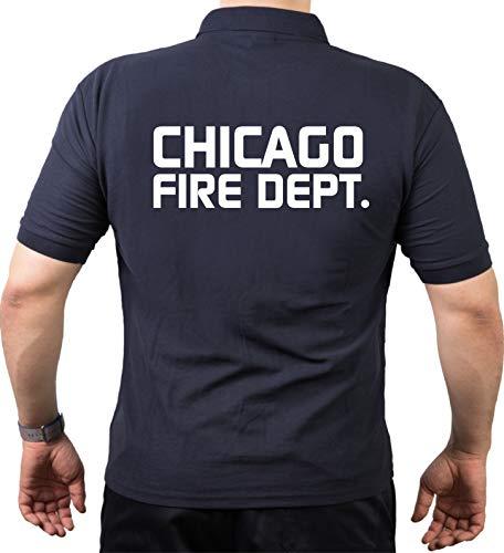 feuer1 Polo bleu marine, inscription Chicago Fire Department et dos imprimé