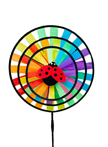 Eva Shop® dzwonki wietrzne ogromny wiatrak, wiatrak, wiatrak, turbina wiatrowa, wiatrak, wiatrak, wiatrak, wiatrak, odporne na warunki atmosferyczne, różne modele do wyboru (Three Wheel Ø 35 cm)