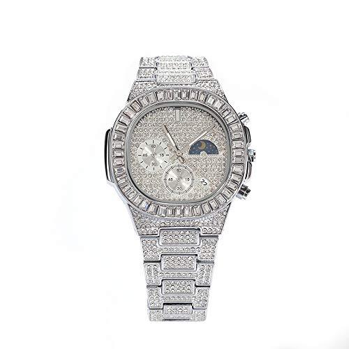 Día y Noche Reloj de Diamantes Reloj de Pulsera de Diamantes de Hip Hop Reloj Punk Brillante Reloj de Pulsera con Diamantes de imitación Helado Reloj de Cuarzo con Calendario clásico (Plata)