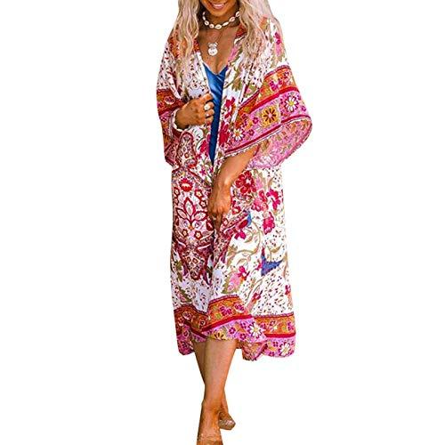 Pareo de Bikini para Mujer Cover Up para Playa Estampado Floral Cárdigan Largo Estilo Bohemio Bata Kimono Talla Grande de Mujer para Verano Vacaciones