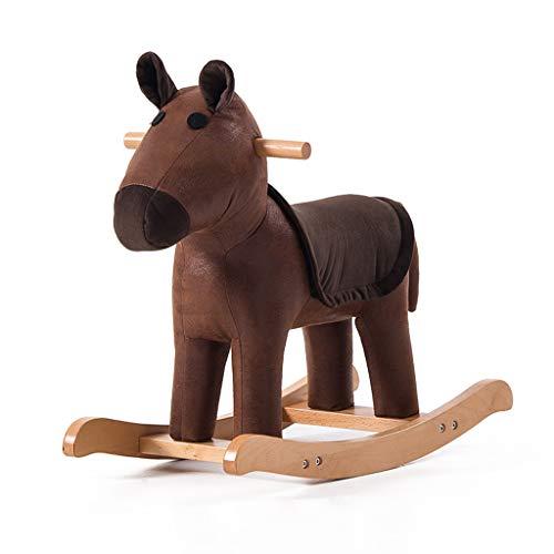 Cheval à Bascule pour Enfant Tabouret en Bois Massif pour Animaux Bébé Tabouret à Dessin animé pour bébé Trojan Chaise à Bascule pour Mignon Petit Banc (Couleur : Brown)