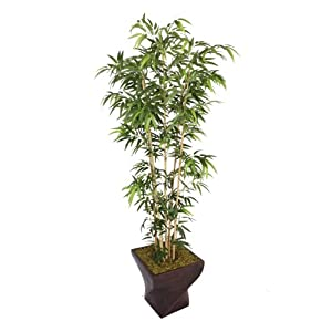 Vintage Home 82″ Tall Natural Bamboo 17″ Planter Artificial Tree, Green