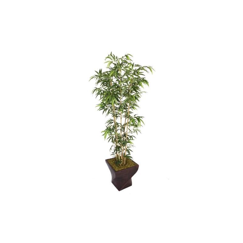 "silk flower arrangements vintage home 82"" tall natural bamboo 17"" planter artificial tree, green"