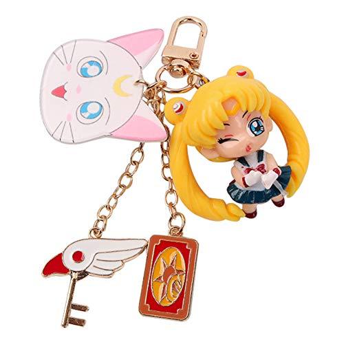 Llavero de PVC Sailor Moon con diseño de personajes de anime, llavero de metal japonés estilo 3