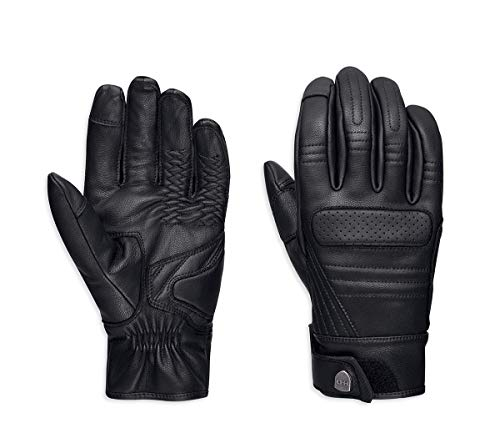 Harley-Davidson Mens Otsego Touchscreen Compatible Black Leather Full Finger Gloves (Large)