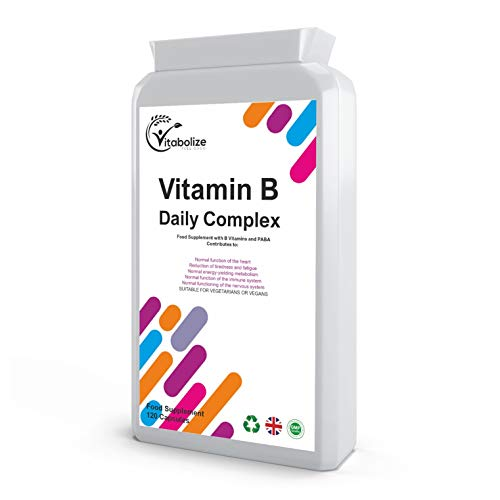 Vitamin B Complex Daily | 120 Capsules | B1, B2, B3, B5, B6, B7, B9, B12 | by Vitabolize