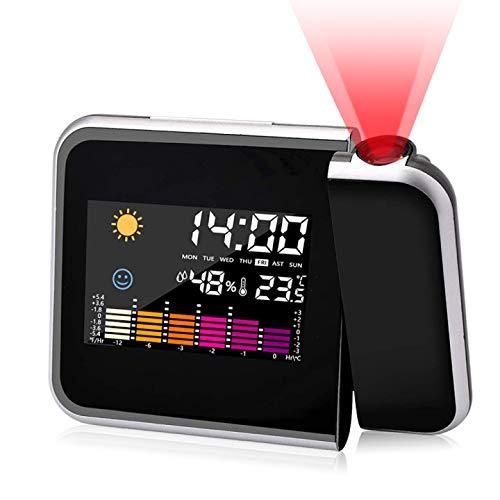 RANJIMA Sveglia con Proiettore, Sveglia Digitale da Comodino Moda Sveglia, Sveglia Digitale LED con Stazione Tempo/Illuminazione LCD a Display/Temperatura e Data/12 e 24h/Funzione Snooze Ricarica USB