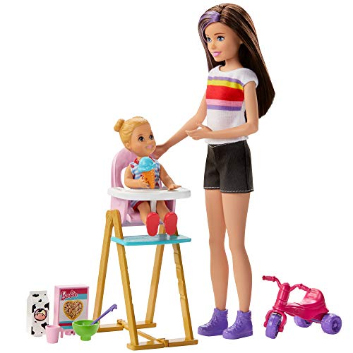 Oferta de Barbie Skipper Canguro Hora de comida muñecas con bebe y accesorios (Mattel GHV87)