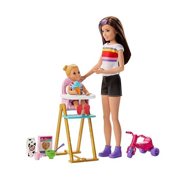 Barbie Skipper Canguro Hora de comida muñecas con bebe y accesorios (Mattel GHV87)