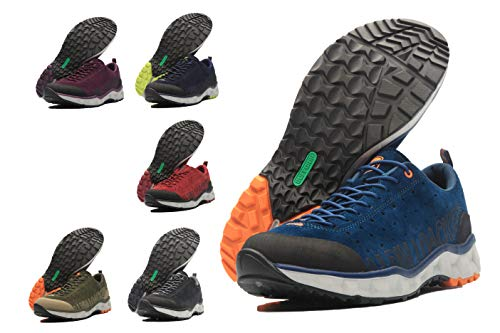 ALPIN LOACKER Premium Outdoor Trekking Freizeit Wanderschuhe aus Leder - Die Allround Schuhe (42 EU, Blau/Orange)