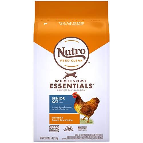 NUTRO WHOLESOME ESSENTIALS Natural Dry Cat Food, Senior Cat Chicken & Brown Rice Recipe Cat Kibble, 5 lb. Bag