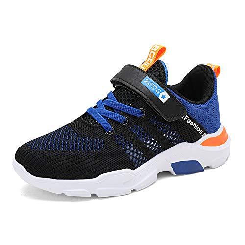 NIIVAL Kinder Schuhe Sportschuhe Atmungsaktiv Jungen Sportschuhe Klettverschluss Sneaker Freizeit Turnschuhe für Unisex-Kinder 28-39 (Blau, Numeric_35)
