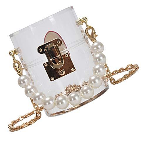 KESYOO Bolso bandolera de acrílico con perlas, bolso de cadena, bolso transparente Clutch bolso de noche, bolso de banquete bolso para ir de compras, niñas mujeres (transparente)