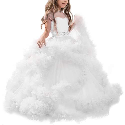 IBTOM CASTLE Vestito Principessa per Ragazza Elegante Floreale Fiore Tulle Abiti da Sera Matrimonio Damigella d'Onore Lungo Festa Donna Sposa Bianco 10-11 Anni