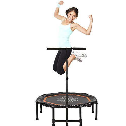 Xspec 44' Fitness Exercise Trampoline, with Adjustable Handrail Bar and Safety Bungee Rope Pad Cover, Mini Indoor Rebounder for Adults Kids, Silent Low Impact Cardio Workout Trainer, Orange