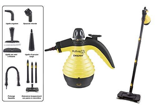 BEPER P202VAL001 Limpiador y escoba desinfectante 10 en 1, Ideal para múltiples superficies, Completo con 10 accesorios, Capacidad 350 ml, Potencia 1050W, Flujo de vapor 25g-30g / min, Cable 5m, Negro