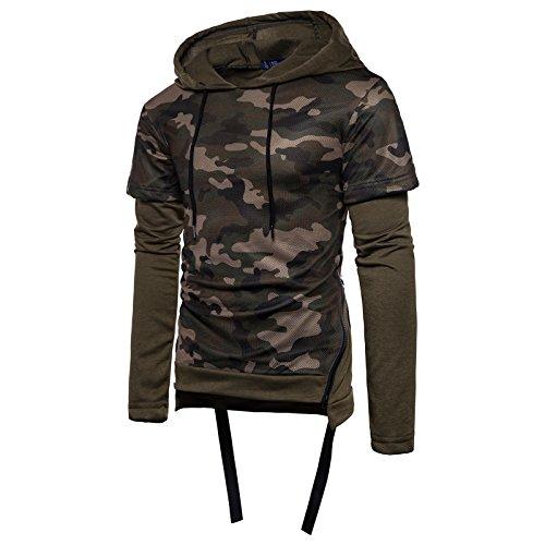 WSLCN Homme 2 en 1 Sweatershirt à Capuche Garçon Shirt Manche Longue Camouflage Militaire Sweater Basket-Ball Pull Zipper Cordon de Serrage Armée Verte FR S (Asie M)
