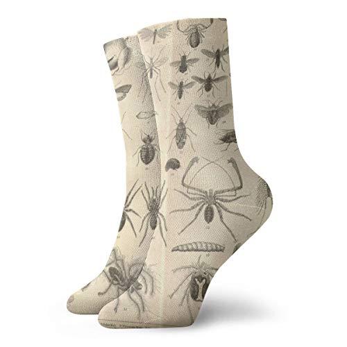 Bag hat Vintage Insect Entomology reversible klassische lange Socken Frauen & Männer sportlich hohe Socken für Fitness-Studio Wandern Laufen nach Hause Strümpfe 11,8 Zoll