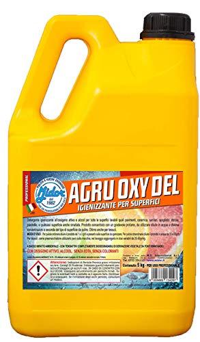 Ossigeno attivo igienizzante con Perossido di Idrogeno 5%, per superfici e pavimenti AGRU OXY DEL 5000ml - 5 kg, sostituisce la candeggina, profumo agrumato