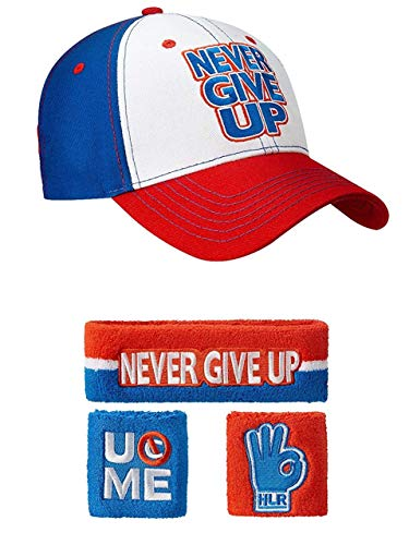 John Cena Rot Weiß Blau Never Give Up Baseball Mütze Stirnband Armband Satz