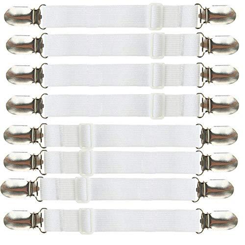 Linligoing 8Stk. Verstellbar elastischen Betttuchspanner Bettlakenspanner Fastener mit Metallklammern für Sofa, Matratze, Bettlaken (weiß)