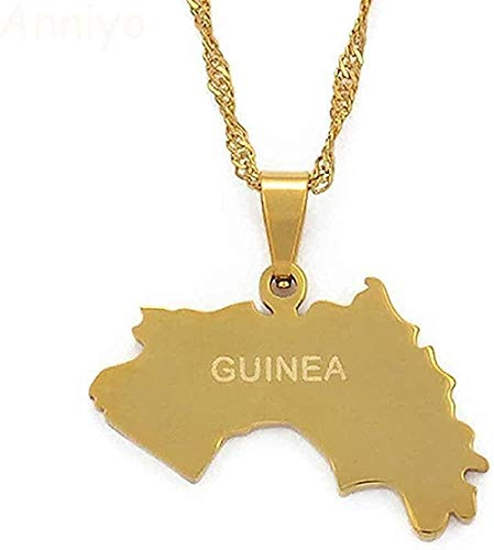 Yiffshunl Collar de la república de Guinea Mapa Colgante Collar Mujeres niñas joyería de Color Dorado Mapa de Guinea Collares Guinea