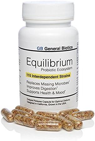 Equilibrium Daily 115-Strain Probiotic Prebiótico - El más alto conteo de deformaciones en el mundo - Suplemento efectivo y fácil de tragar- 1 Botella