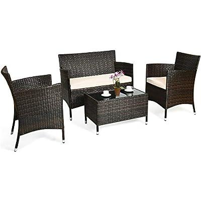BestComfort 4 Piece Outdoor Patio Furniture Set Wicker Conversation Set, Sectional Sofa Rattan Wicker Chair, Glass Coffee Table for Backyard Porch Poolside Balcony Garden