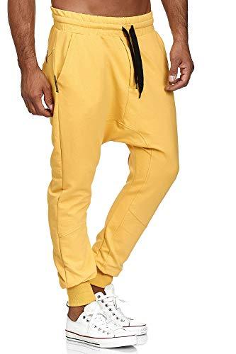 Tazzio P-501, pantaloni da jogging da uomo, stile harem giallo. S