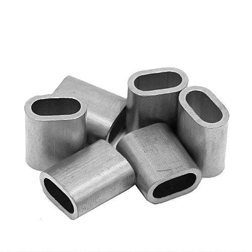Constrabo® | 50x Aluminium Pressklemme 1 mm | Ovale Alu-Pressklemmen nach DIN EN 13411-3 (DIN 3093) | Presshülsen, Alu Klemme Stahlseil, Pressklemmen für Seile, Draht Seilverbinder, Drahtseilklemmen