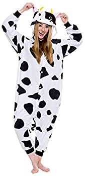 Silver Lilly Plush One Piece Cow Animal Cosplay Costume - Unisex Adult Pajamas  X-Small