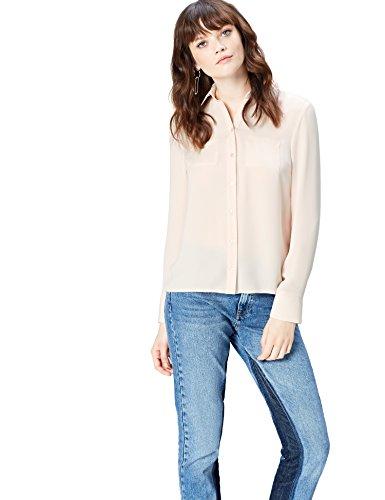 Amazon-Marke: find. Hemd Damen mit Kragen und Brusttaschen, Rosa (Pearl 12-1304), 42, Label: XL