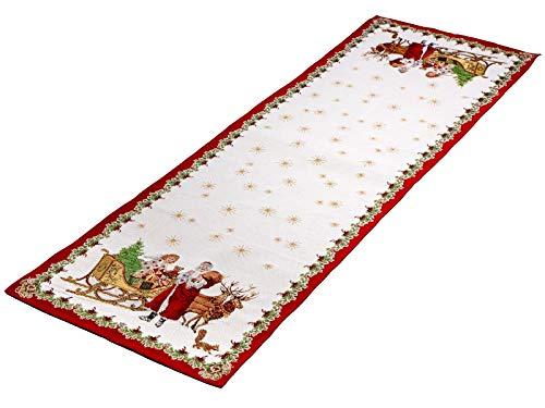 Villeroy & Boch Toys Fantasy Gobelin Läufer Santa mit Schlitten XL, Mehrfarbig, 49 x 143 cm