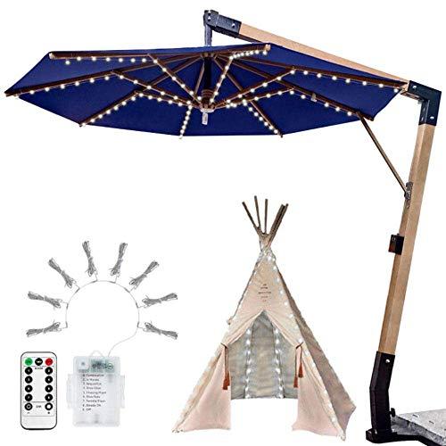 Sonnenschirm Led Lichterkette, Wasserdicht 104 Led Fernbedienung Outdoor Gartenschirm Zeltbeleuchtung, Verwendet Für Terrassendeck Hinterhof-Bunt